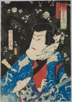 A Kabuki actor as the bandit Shiro in falling snow - create simulated woodblock print
