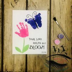 Toddler/Infant Handprint and Footprint Art, Your Love Helps Me Bloom, Mothers Day, Toddler Painting, Sibling Art