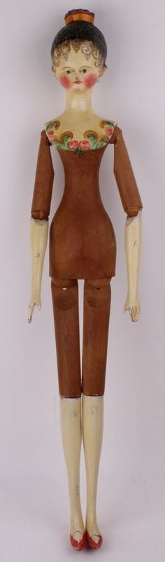 A rare and fine large Grodner Tal wooden doll, Ger : Lot 190