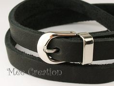"Buy 10mm Genuine Flat Leather 316L Stainless Steel Watch Clasp Bracelet (19cm / 7 1/2""), Leather Bracelet, Black Leather Bracelet in Etsy by MeeCreation (MCBC010145)"