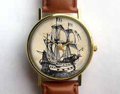 Vintage Pirate Ship Watch, Nautical Watch, Vintage Inspired, Ladies Watch, Men's Watch, Boat, Unisex, Novelty, Quirky, Analog, Gift Idea by 10northcreative on Etsy https://www.etsy.com/listing/202429507/vintage-pirate-ship-watch-nautical-watch