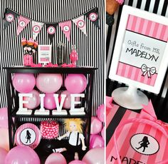 "adorable black and pink party - could definitely be recreated for grown-ups, even though this is ""technically"" an Eloise at the Plaza party :)"
