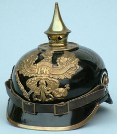 Prussian Infantry Pickelhaube.  I would be terrified if someone came after me in one of these.