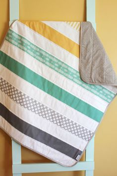 Stripe nursery quilt - gray, mint and yellow by PETUNIAS