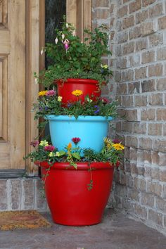 tiered pots would be cute for the porch.
