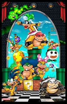 The Koopalings -Koopa Kids by whittingtonrhett on DeviantArt Super Mario Tattoo, Super Mario Art, Super Mario World, Wallpaper Nintendo, Mario E Luigi, Graffiti Pictures, Nintendo Characters, Super Mario Brothers, Character Wallpaper