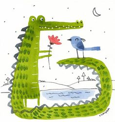 Crocodile Illustration, Children's Book Illustration, Watercolor Animals, Watercolor Art, Drawing For Kids, Art For Kids, Happy Paintings, Craft Day, Arte Floral