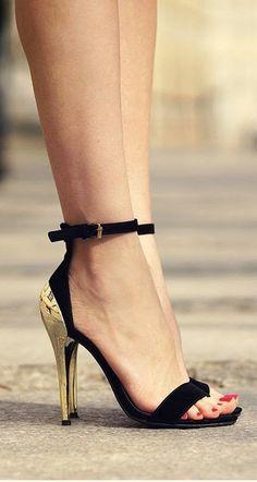 Ankle Strap Velvet Pumps #gold #heels
