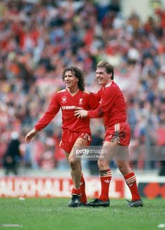 10 May 1986 - FA Cup Final - Liverpool v Everton - Kenny Dalglish of Liverpool celebrates his goal with Craig Johnston of Liverpool Kenny Dalglish, Fa Cup Final, Celtic Fc, Everton, Liverpool Fc, Legends, Football, Goals, Baseball Cards
