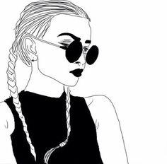 art, noir, noir et blanc, dessin, mode, fille, grunge