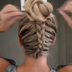: Dutch Braid Messy Bun Updo Perfect for Short, Medium and L. Dutch Braid Messy Bun Updo – Perfect for Short, Medium and Long Hair Hi everyone! I wanted to share with you this super cute and easy dutch braid into a messy bun tutorial. Braided Bun Hairstyles, Elegant Hairstyles, Pretty Hairstyles, Easy Hairstyles, Girl Hairstyles, Wedding Hairstyles, Hairstyle Ideas, Casual Hairstyles, Dancer Hairstyles