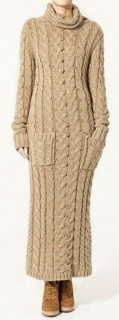 @roressclothes closet ideas #women fashion outfit #clothing style apparel cable knit beige dress:
