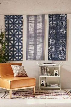 Shibori Dyed Tapestry - Urban Outfitters Now I know what to do with the ones I made. Fabric Wall Decor, Wall Shelf Decor, Wall Decor Design, Fabric Wall Hangings, Fabric Walls, How To Hang Fabric On Walls, Hanging Fabric On Walls, Design Rustique, Teen Girl Bedrooms