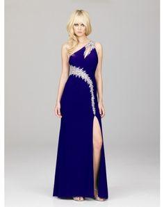 Sheath / Column One Shoulder Beading Sleeveless Floor-length Chiffon Prom Dresses / Evening Dresses (SZ0241723 )