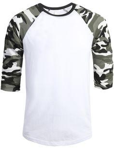 LE3NO Mens 3/4 Sleeve Raglan Crew Neck T shirt