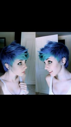 Blue and turquoise short hair