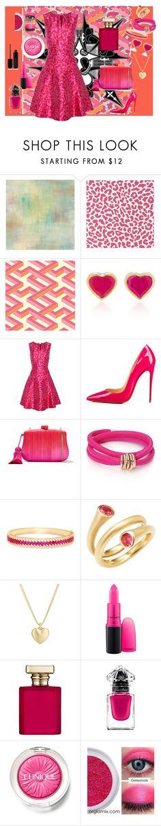 """Leopard Pink"" by wendy-collins-1 ❤ liked on Polyvore featuring Cole & Son, Oscar de la Renta, Christian Louboutin, Serpui, de Grisogono, Effy Jewelry, Carelle, Finn, MAC Cosmetics and ORMONDE JAYNE"
