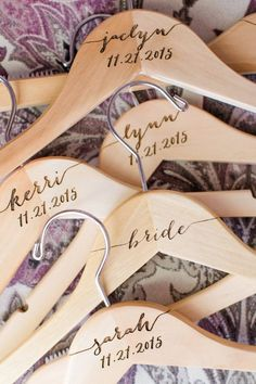 Personalized Hangers for Bridal Party by ZCreateDesign www.zcreatedesign.com | Photo by Deborah Zoe Photograohy