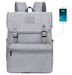 6ebe98b211 Laptop Backpack Men Women Business Travel Computer Backpack School College  Bookbag Stylish Water Resistant Vintage Backpack with USB Port Fashion GREY  Fits ...