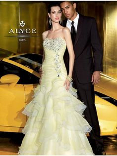 Alyce Designs 6004 Yellow Size 16 layers ruffles fitted prom dress, evening dress