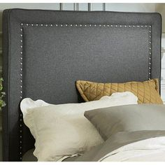 Darby Home Co Dansville Nail Head Upholstered Panel Headboard Size: Twin, Upholstery: Gray