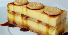 pastel sin horno de flan y galletas