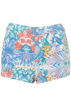 Tropical Print Hotpants  - Topshop