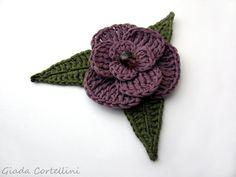 Crochet flower broochflower and leaves crochet by GiadaCortellini