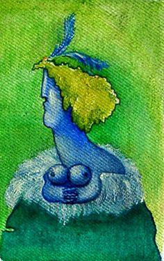 """""""Blue chanson singer"""" (oil on canvas, 15 x 9.5 cm, 2005)"""