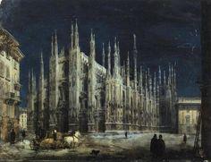"drakontomalloi: "" Angelo Inganni - Cathedral Square at Night (Piazza del Duomo, Milan). N.d. """