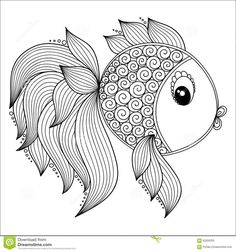 Illustration about Pattern for coloring book. Coloring book pages for kids and adults. Illustration of paisley, cartoon, fish - 62050325 Fish Coloring Page, Cartoon Coloring Pages, Animal Coloring Pages, Coloring Book Pages, Printable Coloring Pages, Mandala Art, Mandalas Drawing, Mandalas To Color, Cartoon Drawings