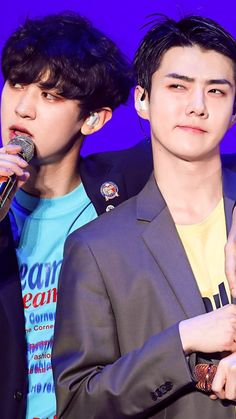 "chanyeol and sehın in elyxion concert ""we young"" Baekhyun, Park Chanyeol, Kpop Exo, Exo K, Exo Ot12, Chanbaek, Sekai Exo, Exo Couple, Exo Lockscreen"