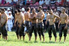 Turkish Oil Wrestling...I was already laughing so hard, and then I watched the video at the bottom