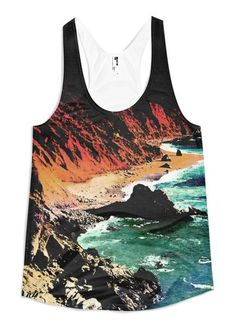 Big Sur - Women's Racerback Tank // Axly // A vivid retro rendition of the Big Sur coastline. Flattering A-line cut. A vibrant sublimated American Apparel tank top made of 100% polyester jersey construction. The fabric is soft, lightweight and comfortable. Designed, Sewn, and Printed in the United States. Sweatshop Free.