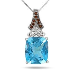 Deal of the Day - 6.00 Carat Blue Topaz Smokey Quartz and Diamond Pendant in .925 Sterling Silver - SPP51777BT