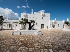 At Masseria Le Carrube in Puglia: The pared-down, tufa-and-reclaimed-wood version of sibling Borgo Egnazia feels like a private house party with its 19 rooms, two swimming pools, and all-veg meals served in a vaulted candlelit room.