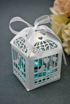 100 X Wedding Bridal Bomboniere Favour - White Birdcage Box, Laser Cut, Fast