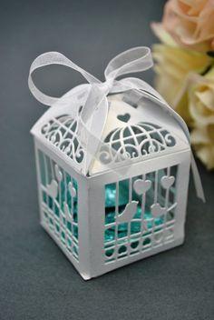 100 X Wedding Bridal Bomboniere Favour - White Birdcage Box, Laser Cut, Fast