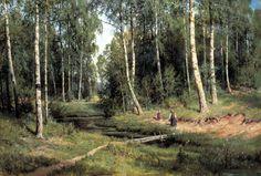 Shishkin Ivan - Stream in a birch forest. 200 Russian painters • download painting • Gallerix.ru