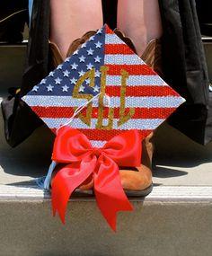 monogrammed american flag grad cap