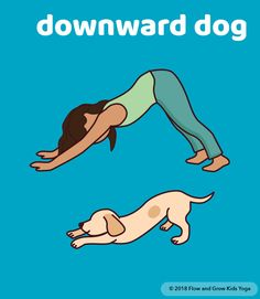 Sun Salutation Yoga Cards - Sun Salutation Yoga Cards Yoga Pose: Downward Dog 🐶 from our new cards, Sun Salutation. ☀ Includes printable poster of all poses in a graceful, yet kid-friendly sequence! Kids Yoga Poses, Kid Poses, Yoga For Kids, Exercise For Kids, Yoga Fitness, Chico Yoga, Yoga For Beginners Flexibility, Printable Poster, Yoga Bewegungen