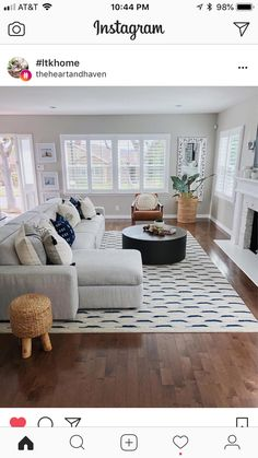 So, I instantly loved this bold rug and bought if for my living room but was really struggling with balancing the room with the right… New Living Room, Home And Living, Living Spaces, Living Room Ideas Usa, Home And Deco, Living Room Inspiration, Home Fashion, Living Room Designs, Family Room