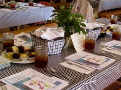 Here's an idea for setting the tables in the dinning hall for a Farm-to-Table theme. This picture courtesy of WREN during their Annual Meeting.