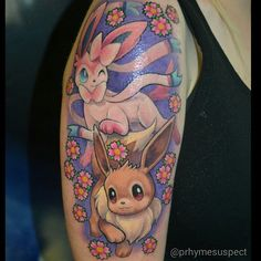 """#pokemonday #2  Eevee & Sylveon by @prhymesuspect #pokemon #pokemontattoo #nintendo #videogametattoo  Thanks again! """