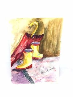 Still life Watercolor Painting Umbrella and Boots Rainy Day Foyer