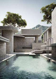 Brutalist Pool Series – Massimo Colonna (Exclusive to TCH) - The Cool Hunter Architecture Company, Interior Architecture, Concept Architecture, Contemporary Architecture, Bree, Aesthetic Value, Affordable Housing, Brutalist, Pool Houses