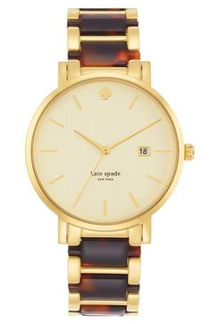 kate spade new york 'gramercy' resin link bracelet watch, 38mm at Nordstrom.com. Tortoiseshell-patterned resin adds a sophisticated note to a classic round bracelet watch cast in warm hues.