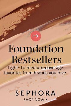 Light- to medium-coverage foundation favorites from brands you love. Medium Coverage Foundation, No Foundation Makeup, Brand You