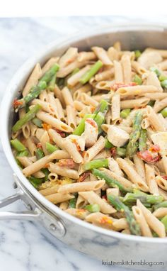Creamy Lemony Pasta with Chicken and Asparagus - an easy one-pot skillet meal!