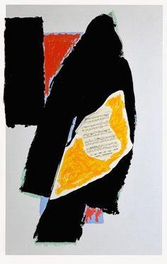 Robert Motherwell,  Negro de Mozart Litografía impresa en colores con collage. 1991 on ArtStack #robert-motherwell #art
